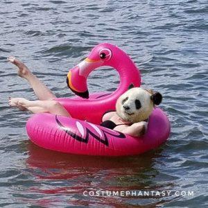 Panda girl in a pink flamingo lake float